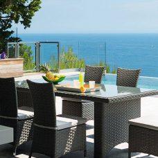 שולחן וכיסאות מראטן דגם Verona + 6 כיסאות ראטן מרופדים 0601