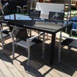 שולחן אלומיניום 100X210 כולל 6 כיסאות תואמים 0553