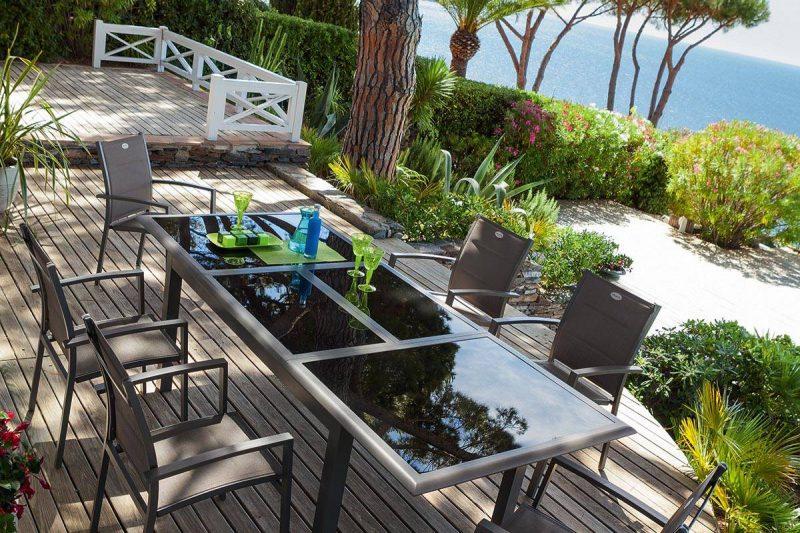 שולחן אלומיניום וזכוכית מחוסמת נפתח 200-300 ללא כיסאות 0552