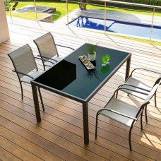 שולחן קבוע מאלומיניום וזכוכית מחוסמת 90X150 כולל 6 כיסאות 0546
