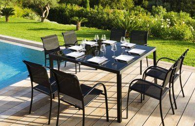 שולחן אלומיניום 150 על150 כולל 8 כיסאות 0551