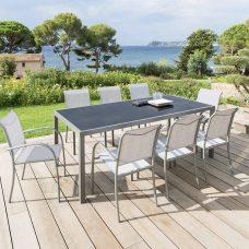שולחן אלומיניום קבוע 100*210 כולל 6 כיסאות עם ידיות 0571