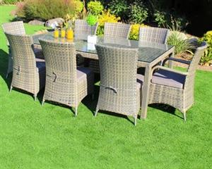 שולחן אלומיניום קבוע מראטן 110X210 כולל 6 כיסאות מראטן מרופדים 0602