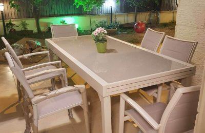 שולחן אלומיניום נפתח 200 ל 320 רוחב 100 כולל 6 כיסאות 0560