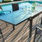 שולחן אלומיניום זכוכית 1.35-2.70 רוחב 90 ללא כיסאות 0559