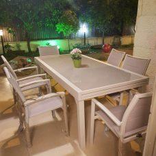 שולחן אלומיניום נפתח 200-320 כולל 6 כיסאות קשת מרופדים 0565