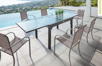 שולחן אלומיניום נפתח 1.35-270 כולל 4 כיסאות ידיות מעוגלות 0558