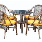 """שולחן עגול בקוטר 66 ס""""מ העשוי מבמבוק וראטן טבעי 0603"""