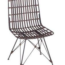 כסא דקורטיבי העשוי מברזל וראטן טבעי San Antain 1120