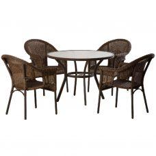 שולחן עגול קוטר 105 אלומיניום וראטן + 4 כיסאות