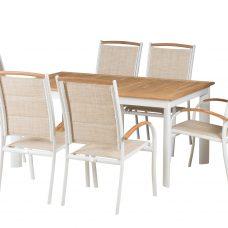 שולחן נפתח העשוי מעץ טיק איכותי 160-240/100+ 6 כיסאות 0504