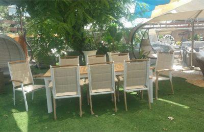 שולחן נפתח מעץ טיק איכותי 220-320/100+8 8 כיסאות 0507