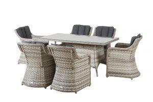 שולחן מלבני העשוי מראטן סינטטי 230X100+ 6 כיסאות