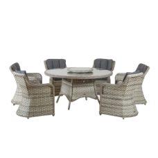 שולחן מעוגל בקוטר 180 העשוי מראטן+ 6 כיסאות