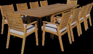 שולחן נפתח מעץ ברזילאי 223-343*100 + 8 כיסאות מרופדים 0508