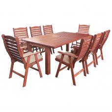 שולחן העשוי מעץ ג'ארה נפתח 180-240/100 + 6 כיסאות מרופדים 0506