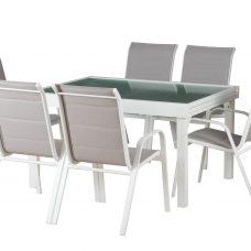 שולחן נפתח במידות 1.35-2.70/105 + 6 כיסאות מרופדים 0577