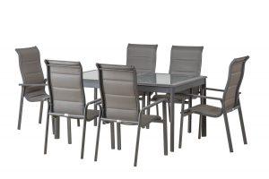 שולחן אלומיניום 160-240X100 + 6 כיסאות גב גבוה 0556