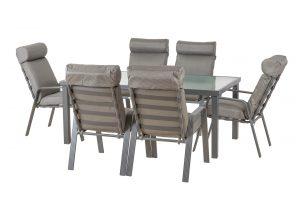 שולחן אלומיניום קבוע במידות 180X105 + 6 כיסאות ריפוד 0570