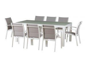 שולחן אלומיניום נפתח במידות 200X100ל320 כולל 8 כיסאות 0563