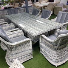 שולחן ראטן איכותי 233/100 + 8 כיסא/כורסא עם כריות מפנקות