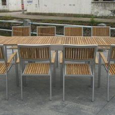שולחן אלומיניום ועץ טיק נפתח 200-320 כולל 6 כיסאות 0501